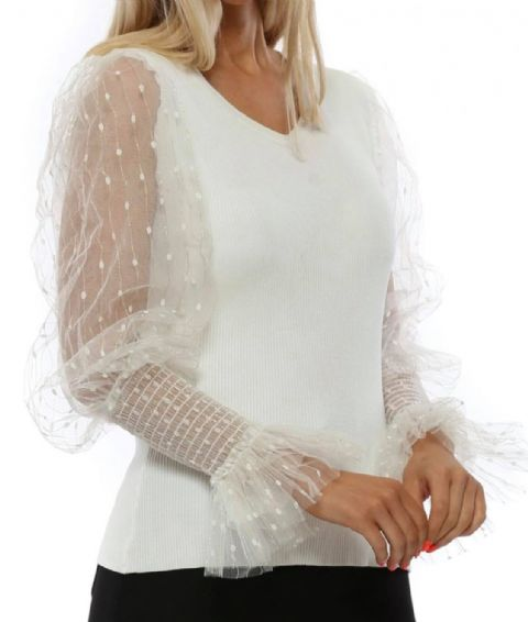 Lilly White Lace Puffball Jumper